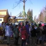 living birch tree as maypole at UUFF in 2006